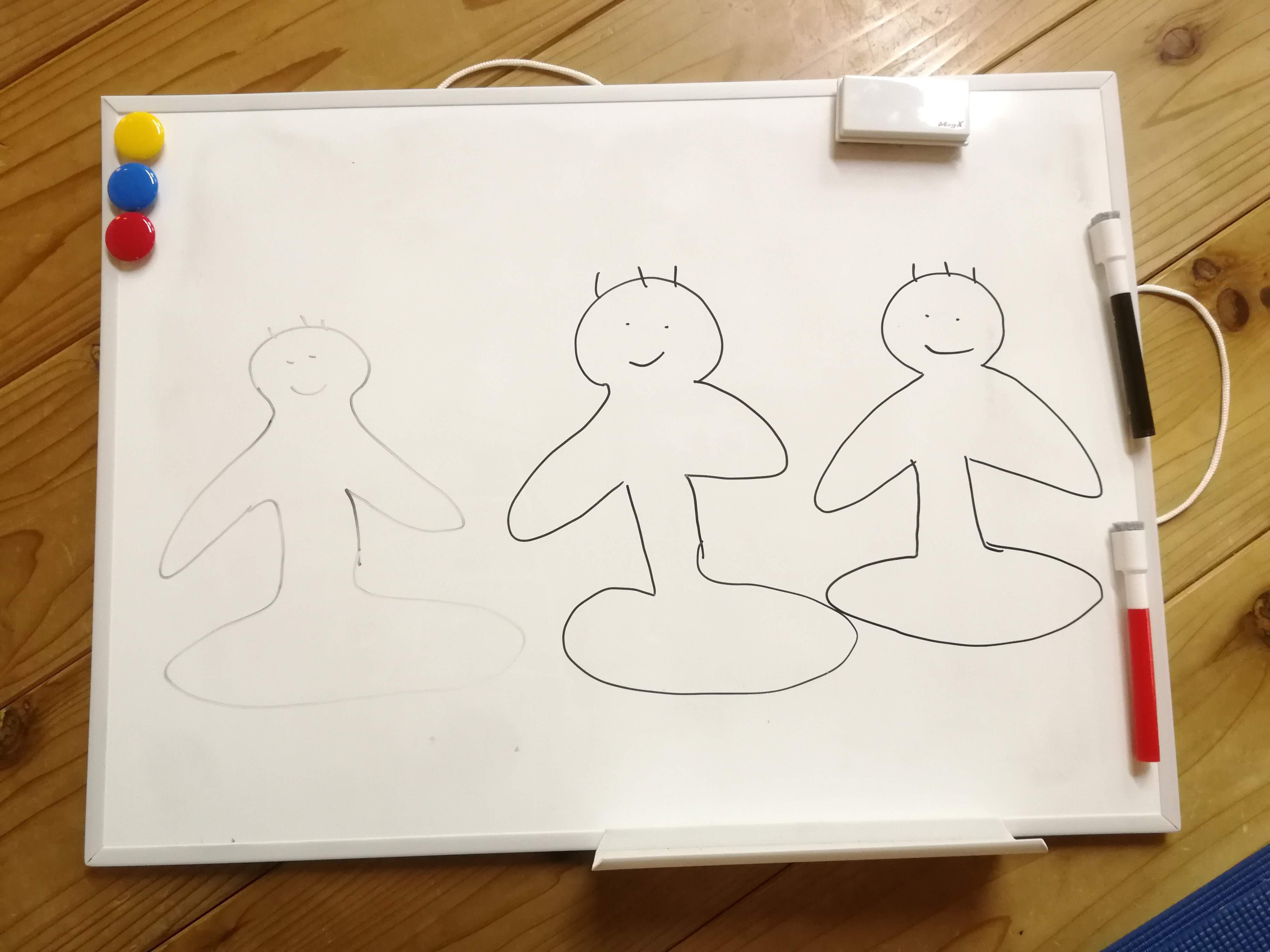 瞑想のやり方を説明したの、撮り忘れた!これじゃ、ただのらくがきだ。